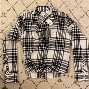 NWT J. Crew Factory long sleeve plaid w/ front tie